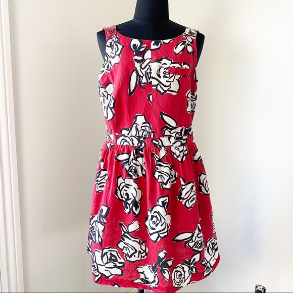 Cooperative Red White Floral Linen Fit and Flair L